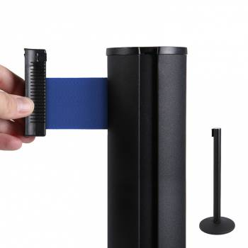 Black Retractable Barrier With 2m Blue Belt