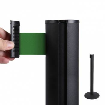 Black Retractable Barrier With 2m Green Belt