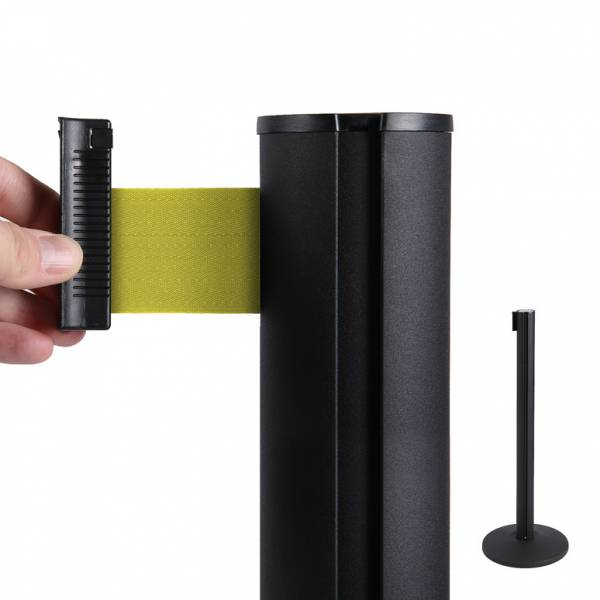 Black Retractable Barrier With 2m Yellow Belt