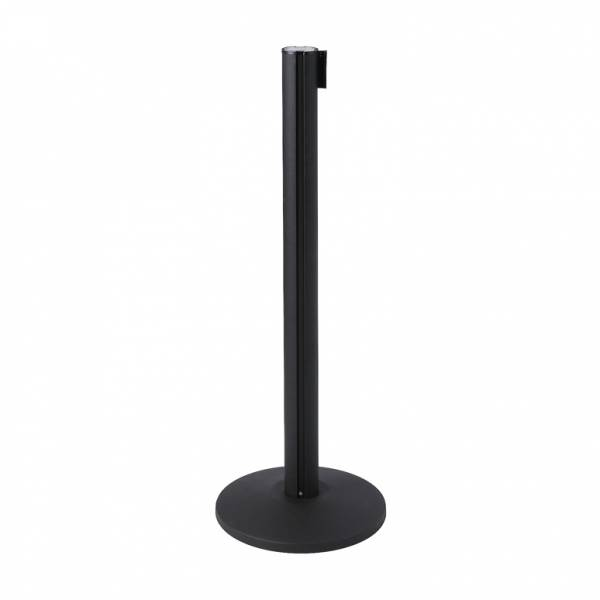 Retractable Barriers - Black posts with 2.7m belt - choice of 5 colours