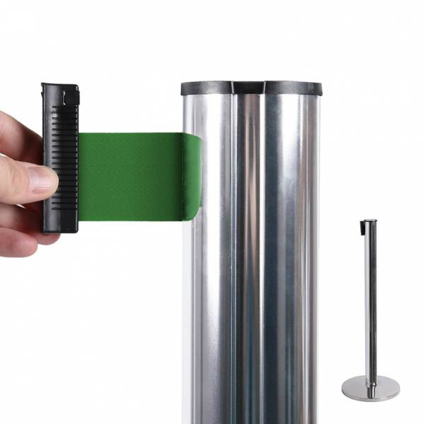 Chrome Retractable Barrier With 2m Green Belt