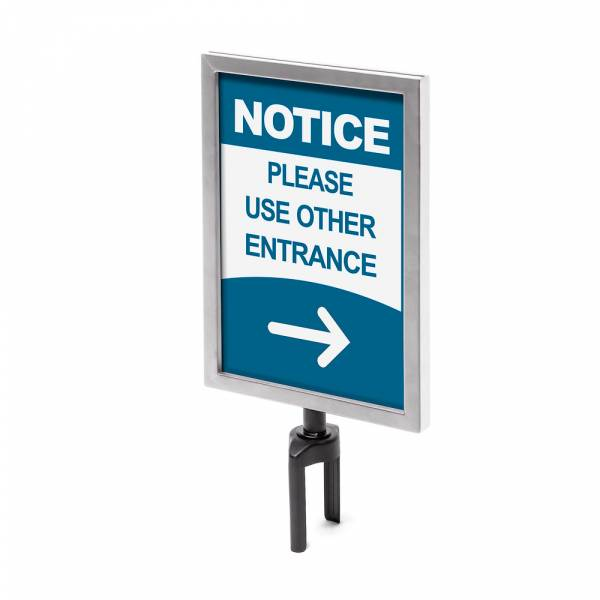 Sign A4 holder Chrome for Barrier Flexi Belt Post