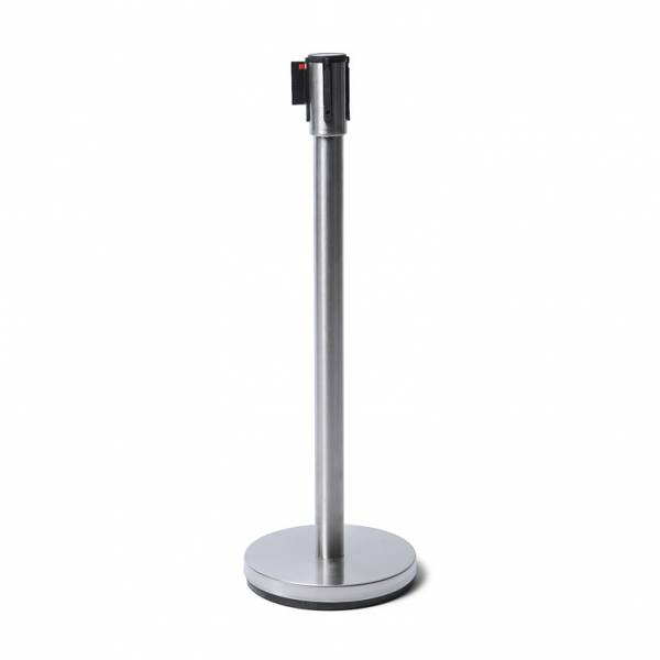 Economy Chrome Barrier Post with 2.5m long black belt