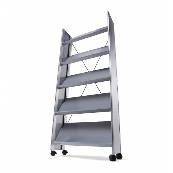 Mobile Angled Brochure Stand - Silver & Black designs