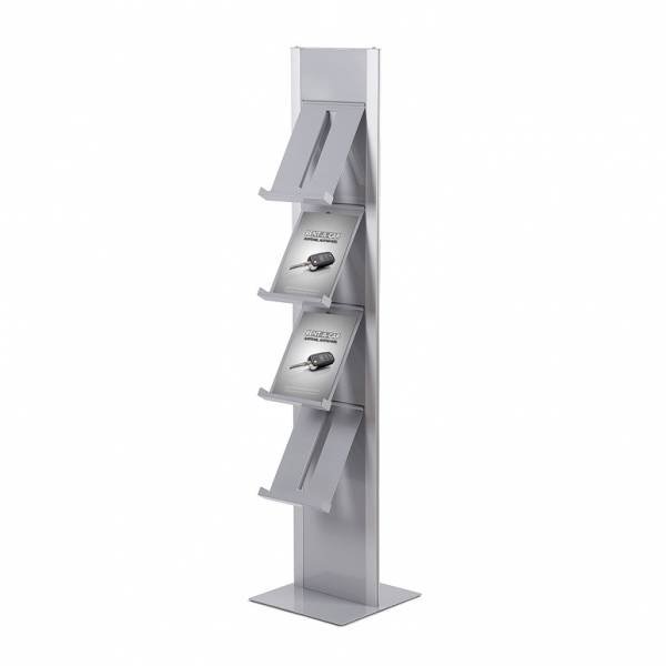 Brochure Rack Totem with 4 angled steel shelves