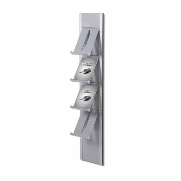 Wall Brochure Rack with 4 shelves / Grey