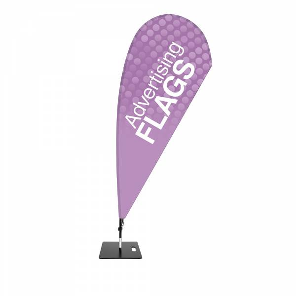 Fibre Drop Flag SET, DIRECT PRINT, single sided presentation 1120x2380mm with square base