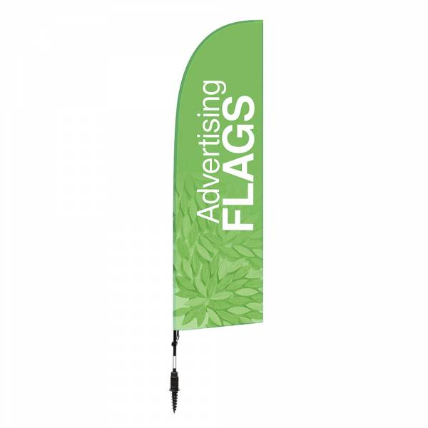 Fibre Wind Flag SET, DIRECT PRINT, single sided presentation, 780x2850 with ground drill base