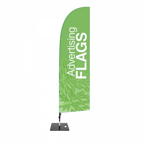 Fibre Wind Flag SET, DIRECT PRINT, single sided presentation, 780x2850mm with square base