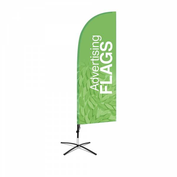 Fibre Wind Flag SET, DIRECT PRINT, single sidedpresentation, 650x1940mm with cross base