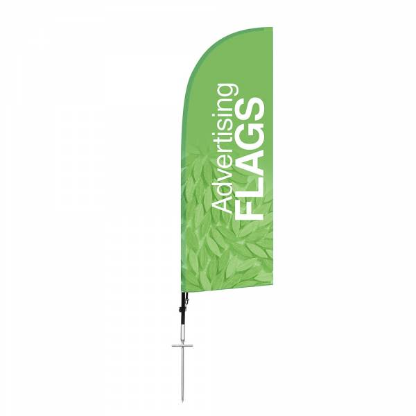 Fibre Wind Flag SET, DIRECT PRINT, single sided presentation, 650x1940mm with ground spike