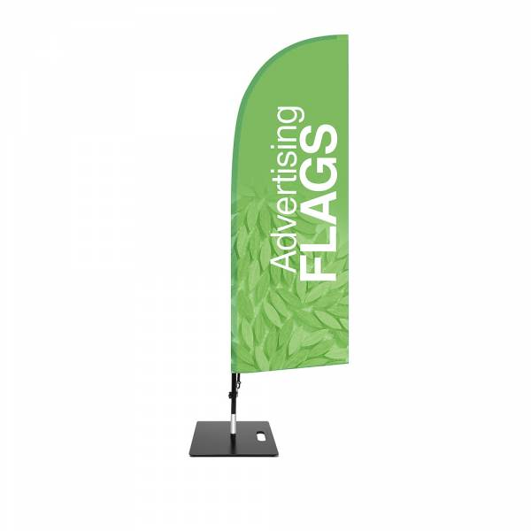 Fibre Wind Flag SET, DIRECT PRINT, single sided presentation, 650x1940mm with square base