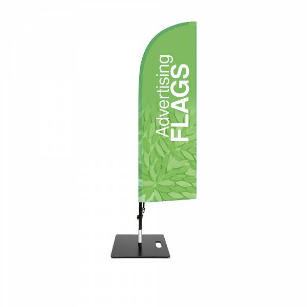 Fibre Wind Flag SET, DIRECT PRINT, single sided presentation, 470x1560mm with square base