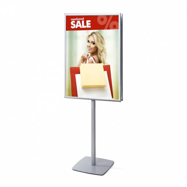 Double-Sided Info Pole with 25mm Snap Frame, Mitred Corner, 70 x 100 cm