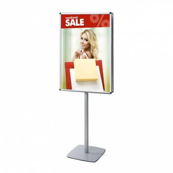 Double-Sided Info Pole with 25mm Snap Frame, Rondo Corner, 70 x 100 cm