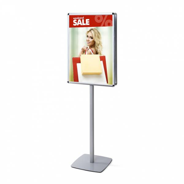Double-Sided Info Pole with 25mm Snap Frame, Rondo Corner, A1