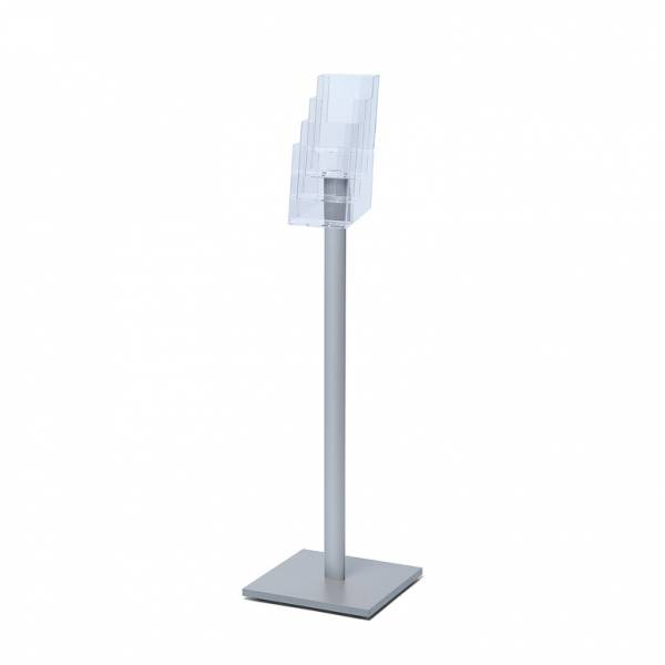 Freestanding DL Brochure Stand with silvedr laminate wooden base
