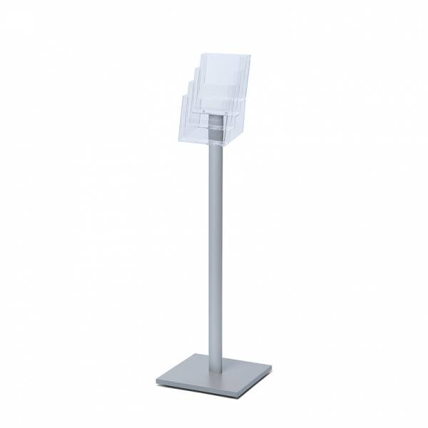Freestanding A5 Brochure Stand with silver laminate base, 4 pockets