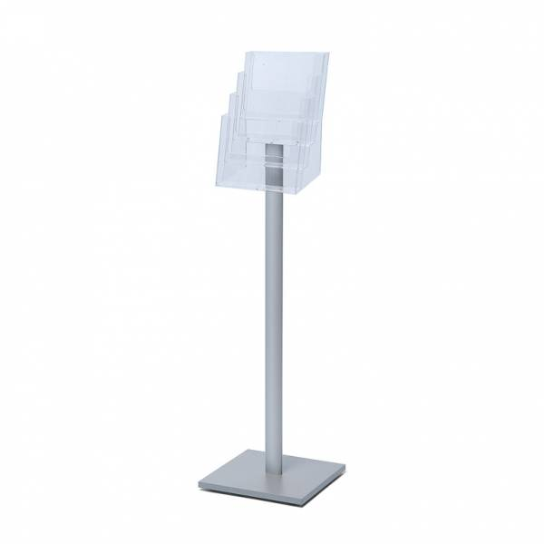 Freestanding A4 Brochure Stand with silver laminate base, 4 pockets