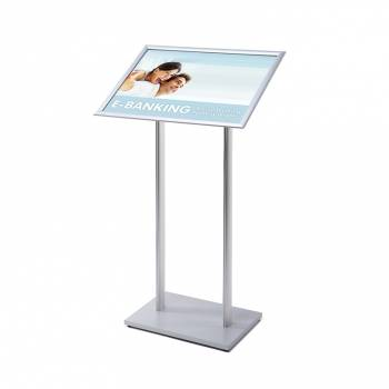 A2 Menu Stand - 25mm snap frame Silver laminate MFC base