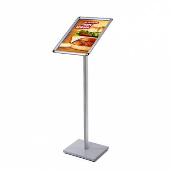 A3 Menu Stand - 25mm snap frame Silver laminate MFC base
