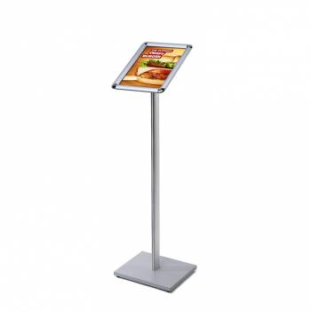A4 Menu Display Stand - 25mm snap frame Silver laminate MFC base