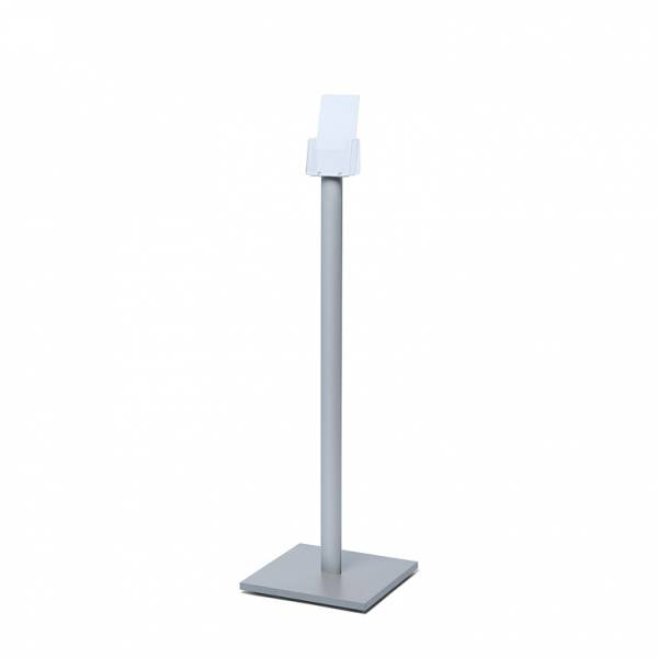Freestanding DL Brochure Stand with silver laminate wooden base