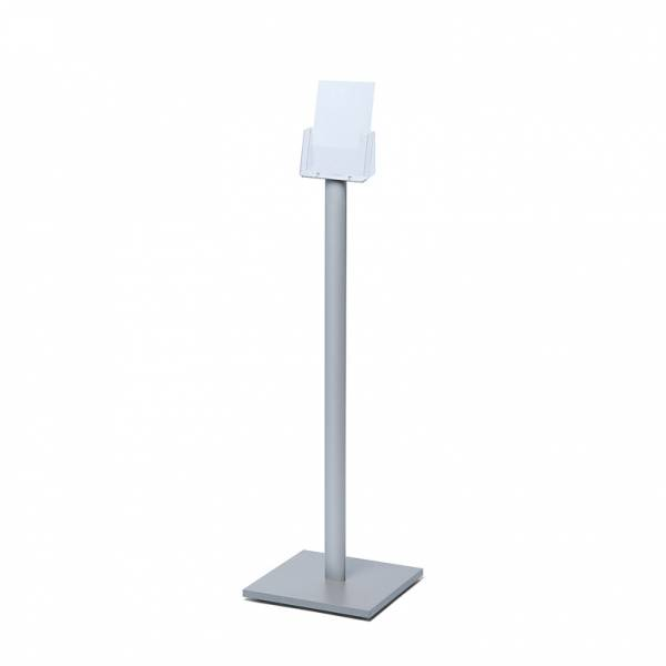 Freestanding A5 Brochure Stand with silver laminate base
