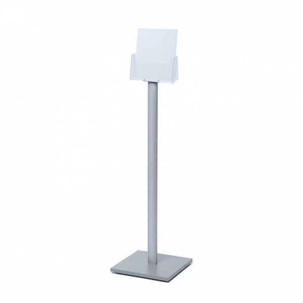 Freestanding A4 Brochure Stand with silver laminate base