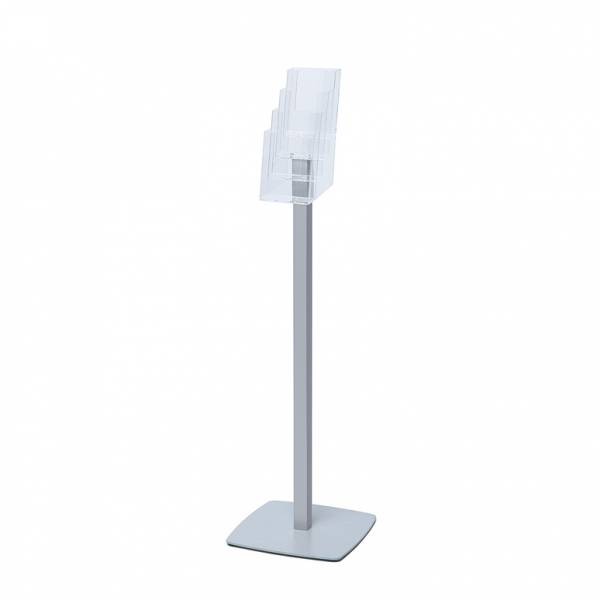 Freestanding Quad DL Brochure Stand silver powder coated steel base
