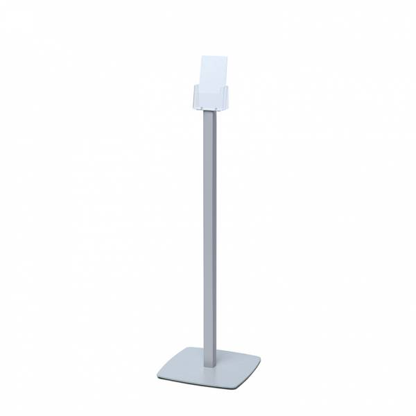 Freestanding DL Brochure Stand with silver powder coated steel base
