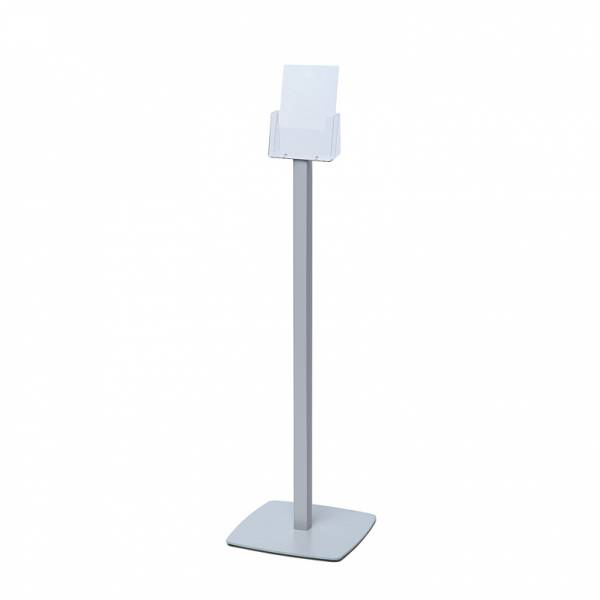 Freestanding A5 Brochure Stand with silver powder coated steel base