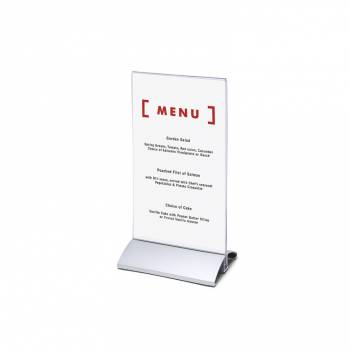 Menu Stand with aluminum base, DL, vertical