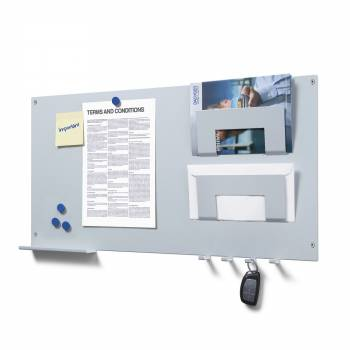 Wall Memoboard with 2 letter and document mounts, hangers and a shelf