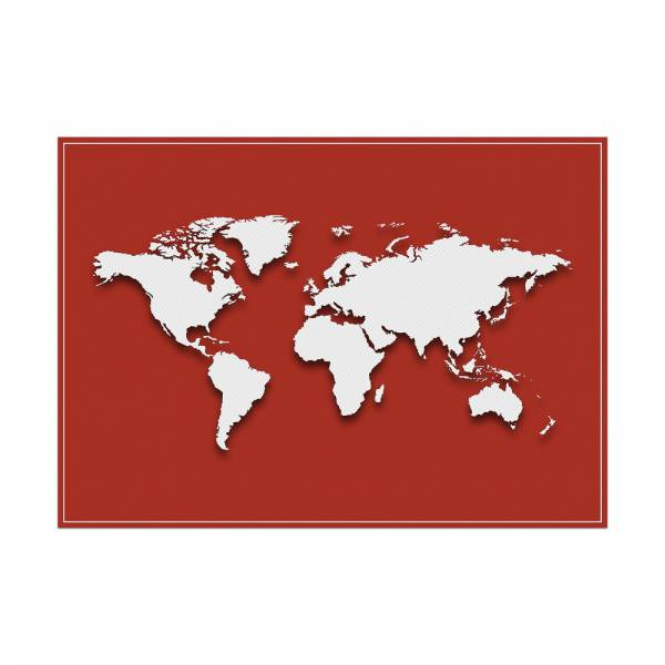 Placemat World Map Red