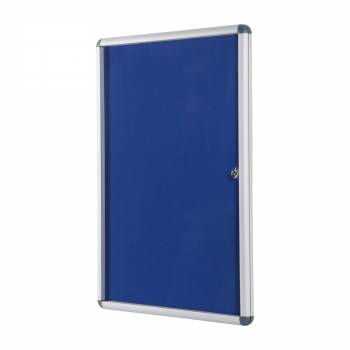 Lockable BLUE Felt Noticeboard - 60x90 cm