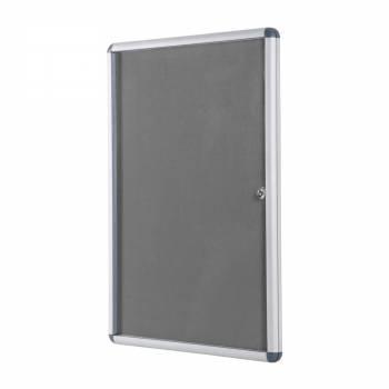 Lockable GREY Felt Noticeboard - 60x90 cm