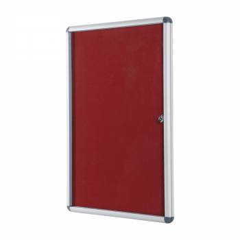 Lockable RED Felt Noticeboard - 90x120 cm