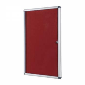 Lockable RED Felt Noticeboard - 60x90 cm