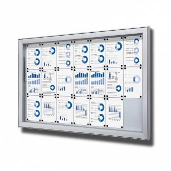 Premium Extra Deep Outdoor Lockable Noticeboard Dry Wipe Panel 21xA4