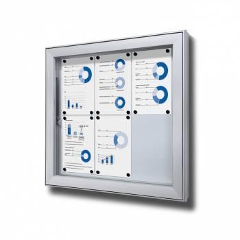 Premium Extra Deep Outdoor Lockable Noticeboard Dry Wipe Panel 6xA4