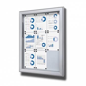 Premium Extra Deep Outdoor Lockable Noticeboard Dry Wipe Panel 9xA4