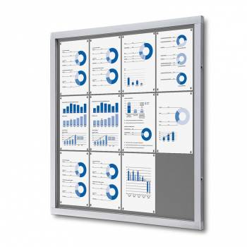 Lockable Notice Board SCOF, GREY, 12xA4