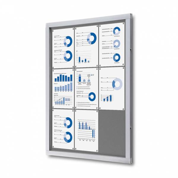 Lockable Notice Board SCOF, GREY, 9xA4