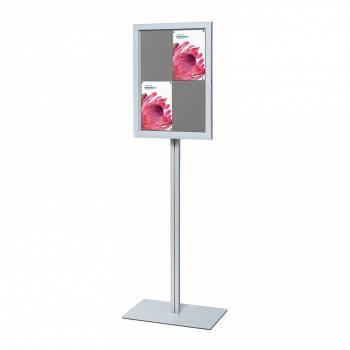 Freestanding Indoor Lockable Dry Wipe Noticeboard GREY