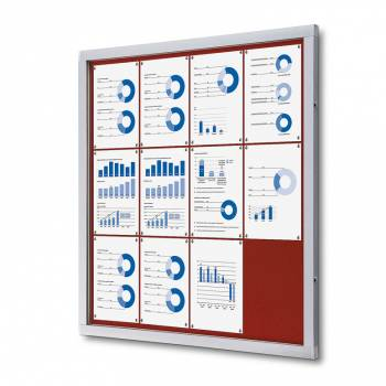 Lockable Notice Board SCOF, RED, 12xA4