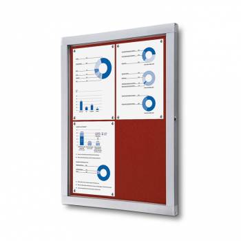 Lockable Notice Board SCOF, RED, 4xA4