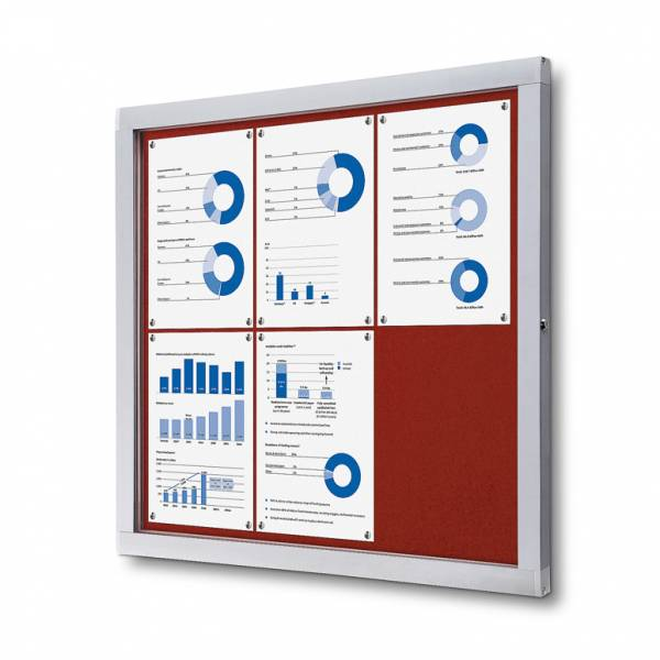 Lockable Notice Board SCOF, RED, 6xA4