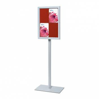 Freestanding Indoor Lockable Dry Wipe Noticeboard RED