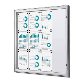 12xA4 Lockable Dry Wipe Noticeboard, Fire Rated